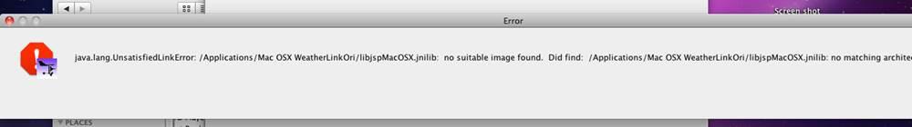 Error message when installing WeatherLink software on Mac
