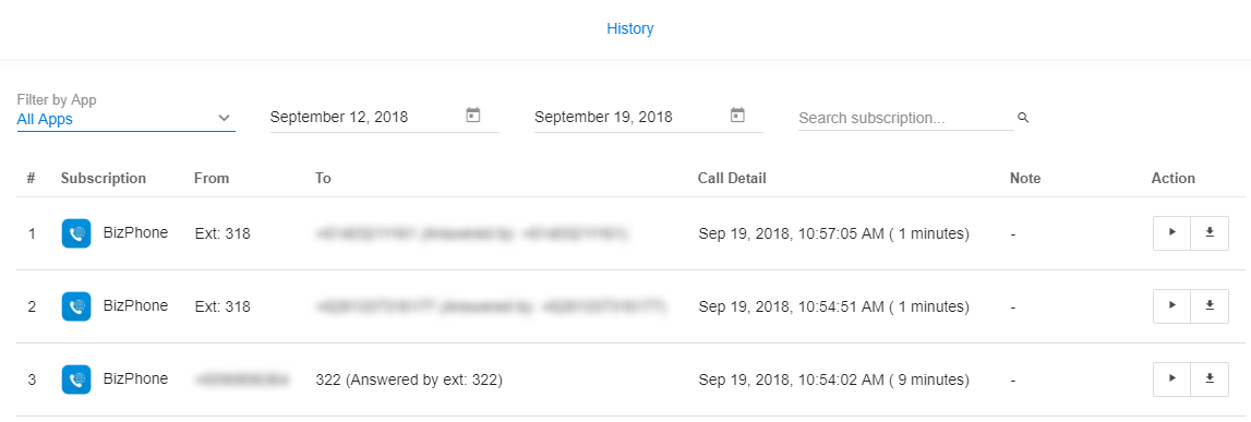 Manage Call recording records (History) - Knowledge Base