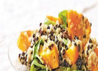 Lentejas y quinoa con calabaza