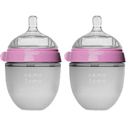 Natural Feel Baby Bottle Double Pack Pink -