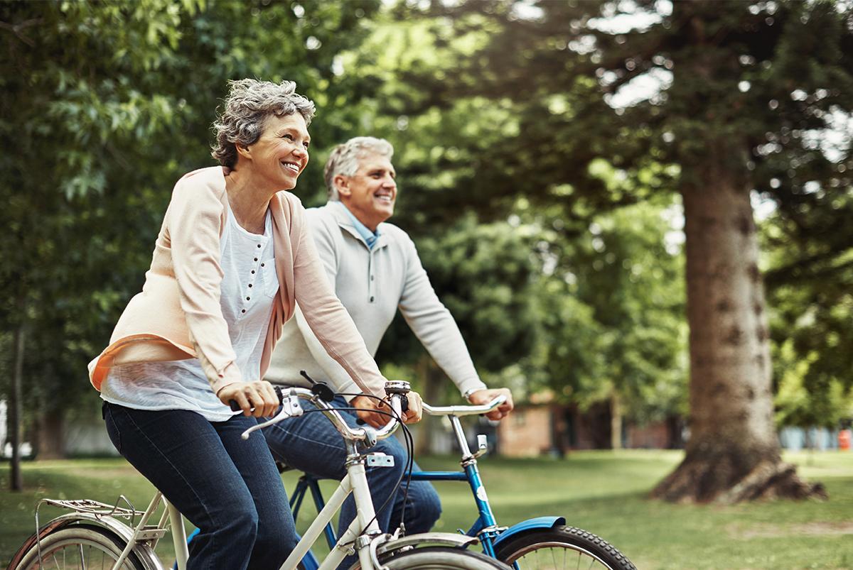 Seniors riding bikes