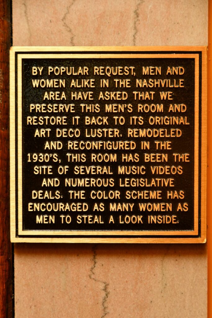Marker outside the famous mens room in The Hermitage Hotel