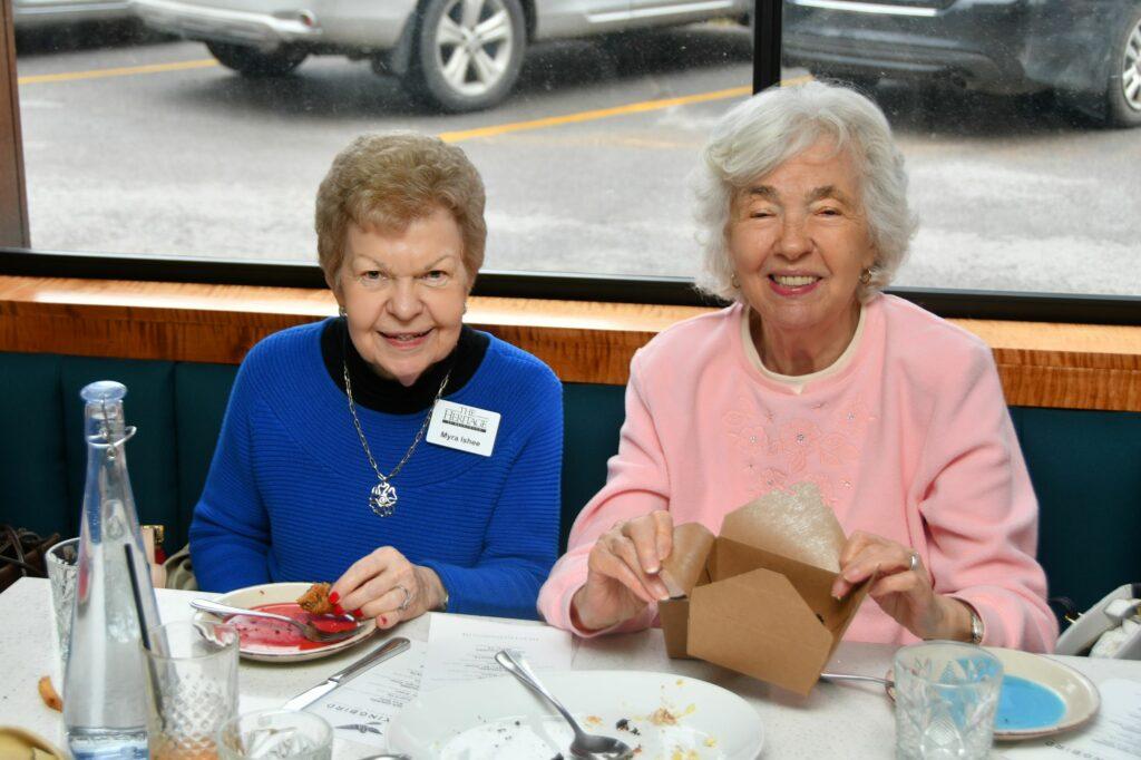 Myra Ishee and Sarah Armistead finishing up their lunch at The Mockingbird.