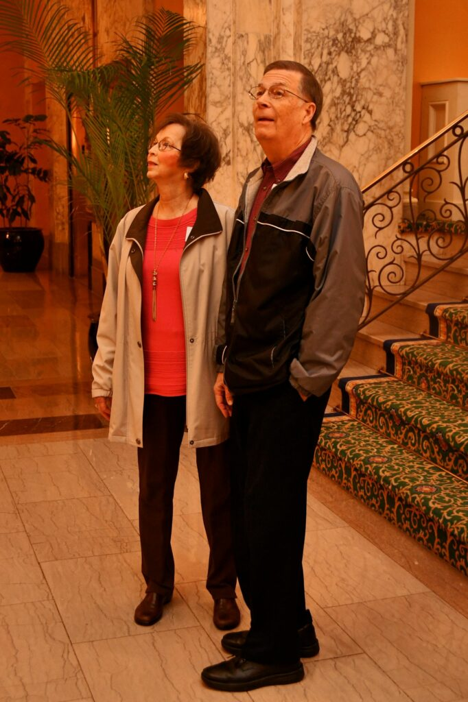 Ann and Ray Bell check out the opulent Hermitage Hotel lobby.