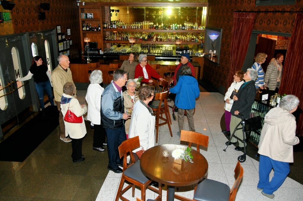 The Heritage tour group arrives at Stop 3 Sinema Restaurant and Bar.