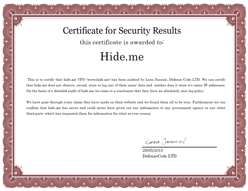 hide.me security certificate
