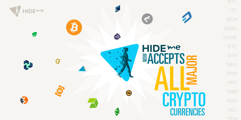 hide.me Added all major Cryptocurrencies as Payment option