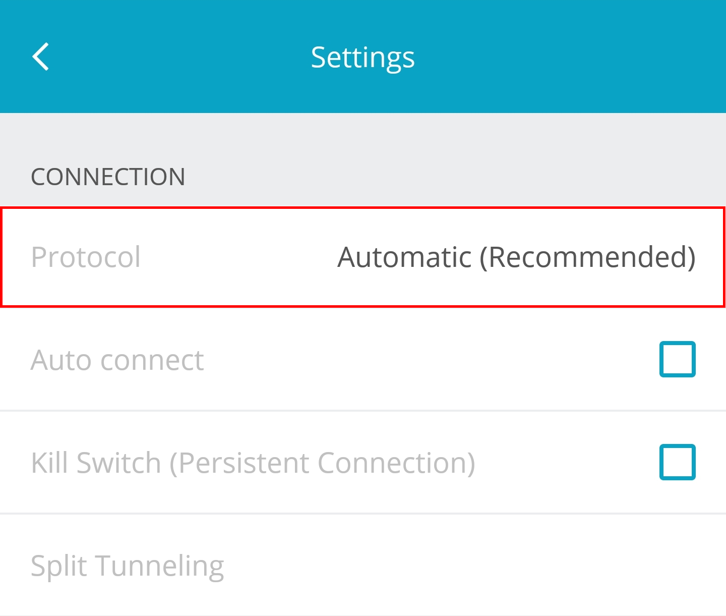 hide.me Android VPN client Settings choose VPN protocol screen