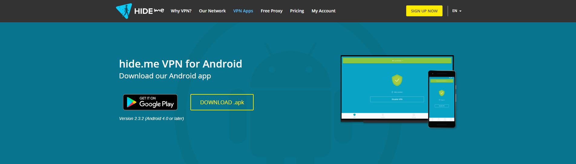Android VPN client download page for .apk