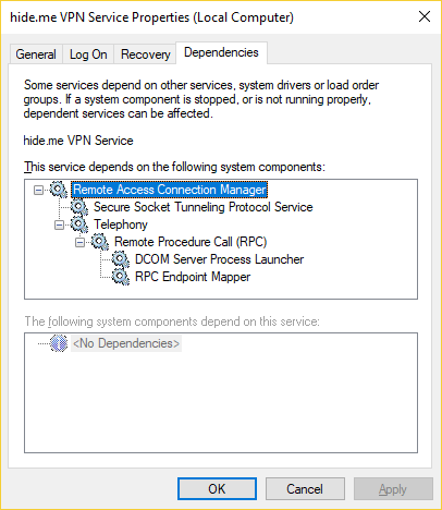 hide.me VPN service dependencies in Windows Services Control Manager