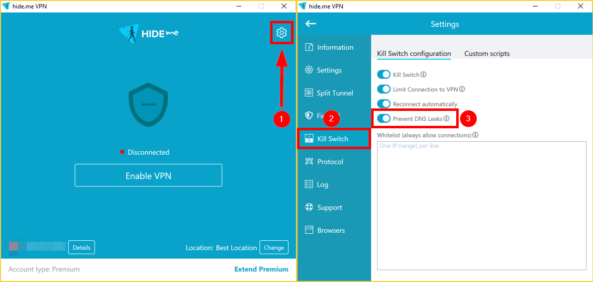 Prevent DNS Leaks Windows VPN client hide.me