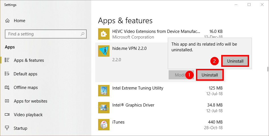 Uninstalling hide.me Windows VPN client Apps and Features view