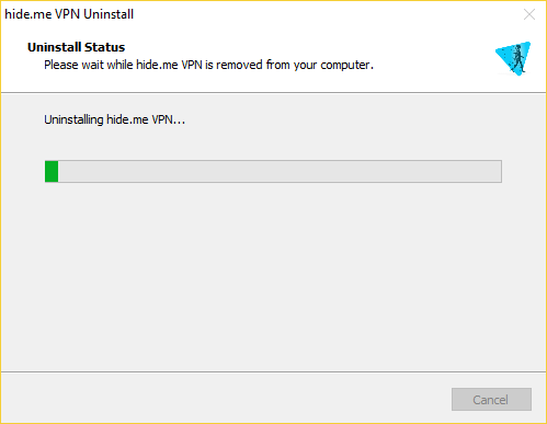 hide.me Windows VPN client uninstall status windows