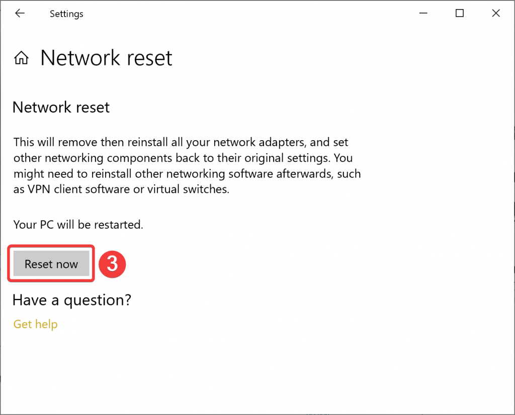 Network reset button on Windows 10