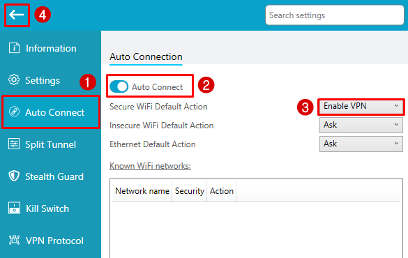 hide.me windows auto connect settings