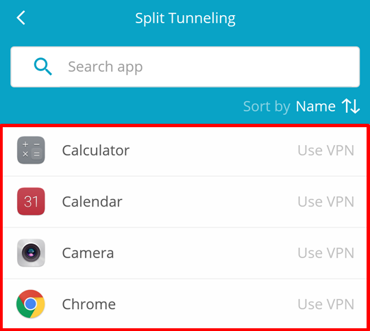 hide me android split tunneling - choose app