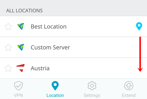 choose server location via mobile app
