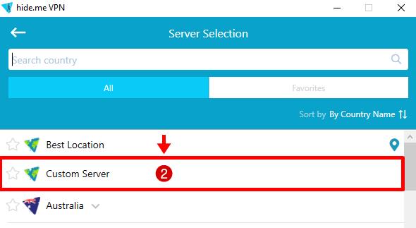 hide.me custom server