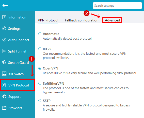 VPN protocol advanced settings