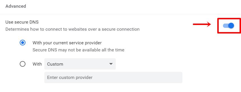 disable dns over https on chrome
