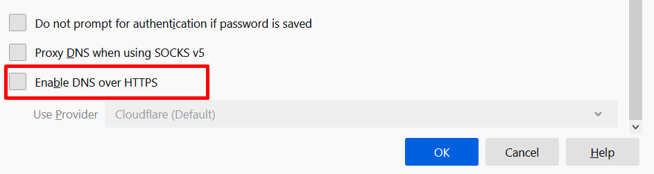 Disable DNS over HTTPS (DoH) in Firefox