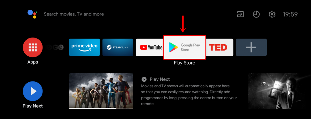 accessing google play store on Android tv