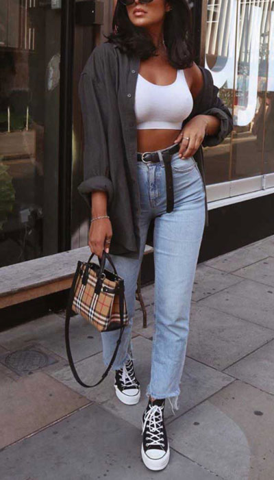 chic summer vacation outfits with shirt, stylish bra top and boyfriend jeans. 23 Summer Vacation Outfits To Make Your Next Trip Stylish