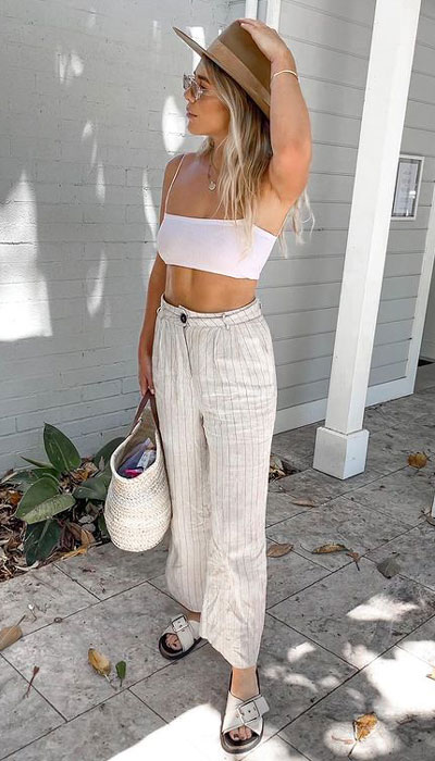 summer vacation outfits with simple flare pants. 23 Summer Vacation Outfits To Make Your Next Trip Stylish