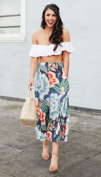 ruffled off-shoulder bikini top with flowy floral pants. 23 Summer Vacation Outfits To Make Your Next Trip Stylish