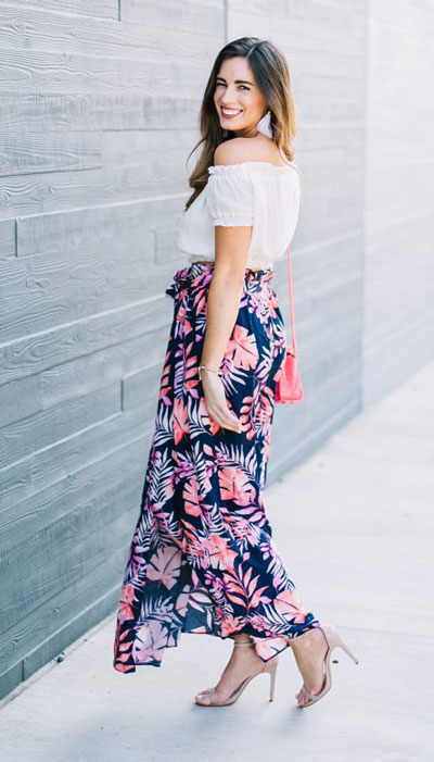 tropical skirt + top for vacation. 23 Summer Vacation Outfits To Make Your Next Trip Stylish