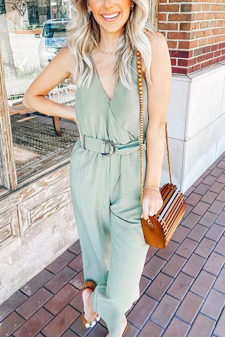 Jumpsuit + bamboo bag. 23 Summer Vacation Outfits To Make Your Next Trip Stylish