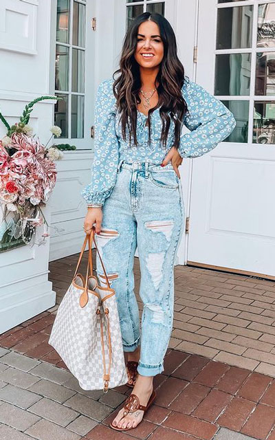 super-feminine look, distressed denim is the way to go paired with a floral smocked top