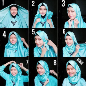 Tutorial Hijab Kerja Satin