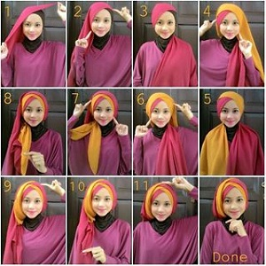 Hijab Dua Warna Cantik Simple