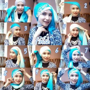 Hijab Segi Empat Dua Warna Simple Modis
