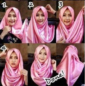 Hijab Pashmina Satin Simple Menutup Dada