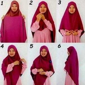 Tutorial hijab syar'i segi empat 1