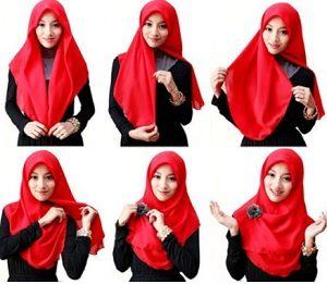 Tutorial hijab syar'i segi empat 4