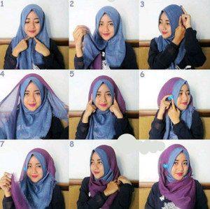 tutorial hijab bahan katun 4