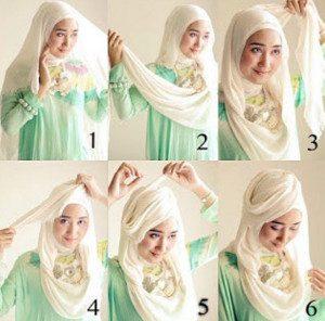tutorial hijab bahan katun 9