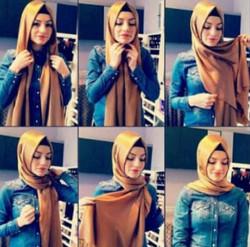 tutorial hijab simple segi empat 10