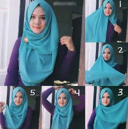 tutorial hijab simple segi empat 18