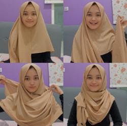 tutorial hijab simple segi empat 8