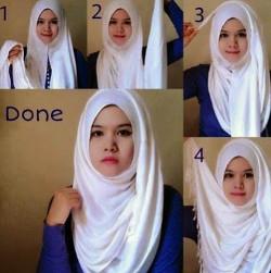 tutorial hijab pashmina simple wajah bulat 5