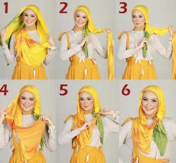 tutorial hijab pashmina simple wajah bulat 6