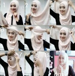 tutorial hijab segi empat simple wajah bulat 1