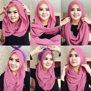 Tutorial Hijab Pashmina dengan Headband 4
