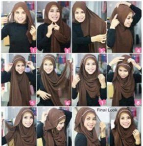 Tutorial Hijab Pashmina dengan Headband 19