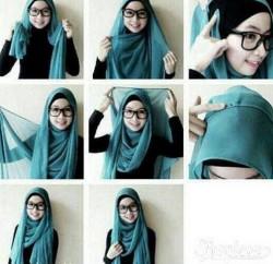 tutorial hijab paris berkacamata 1