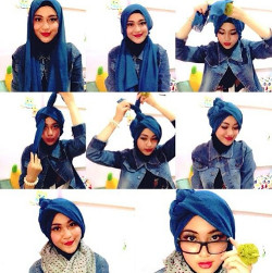 tutorial hijab paris berkacamata 10